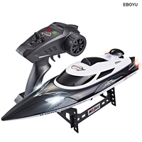 HongXunJie HJ806 2.4G 4CH 180 Flip Waterproof 35Km/h High Speed Racing RC Boat w/ Colorful LED Lights RC Speedboat Kids Gift Toy