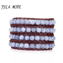 Fyla Mode Natural Quality 6mm Natural Stone Bead Wrap Bracelet Braided Bracelets Woven Brown Leather Cord Wrap Bacelets New