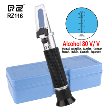 2018 RZ ручной Алкотестер рефрактометр 0-80% монитор детектор ликера метр с ATC концентрация тестер инструмент RZ116