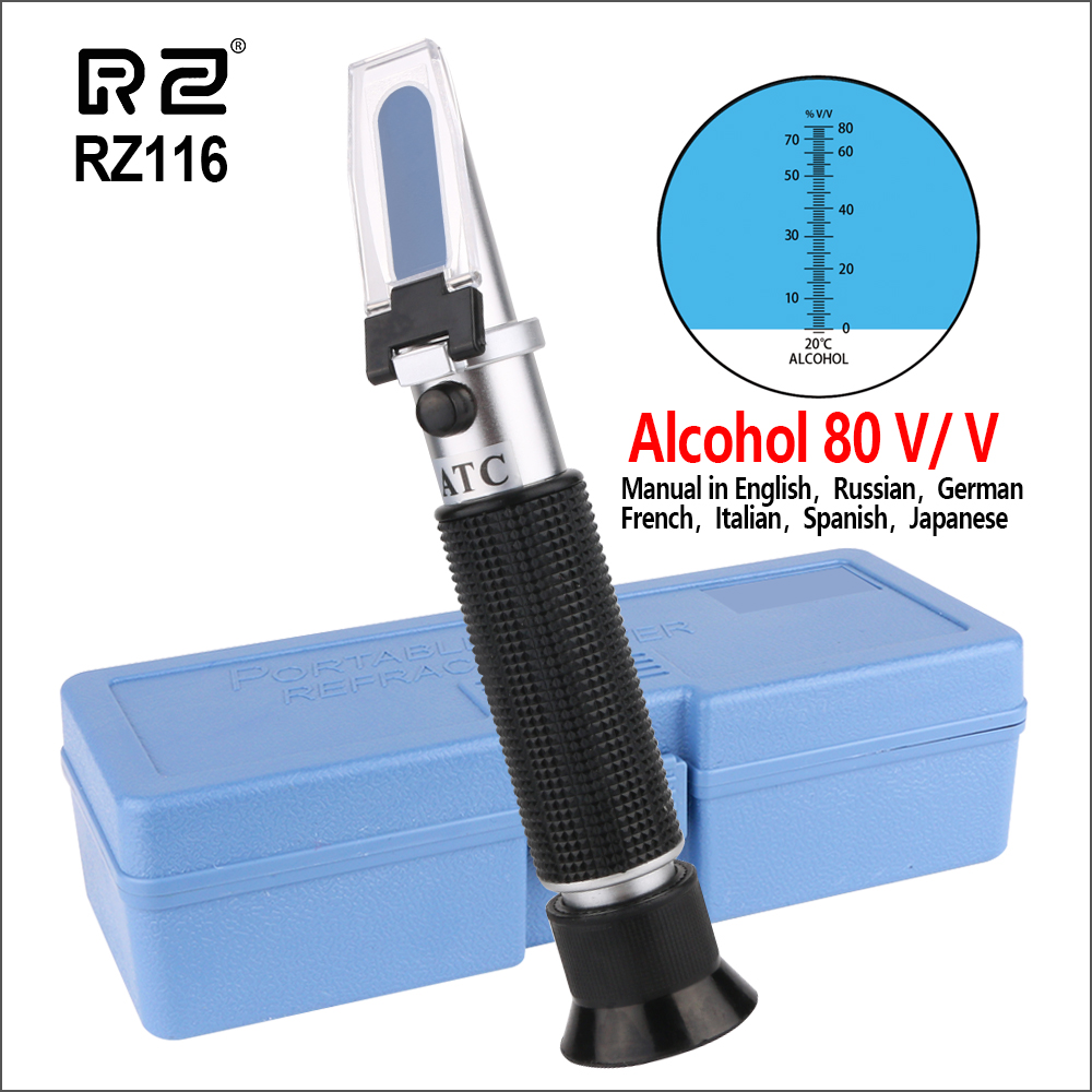 RZ Refractometer Alcohol Portable Auto Digital Refractometer 0-80 Glycol Handheld Atc Brix Refractometer Beer Box RZ116