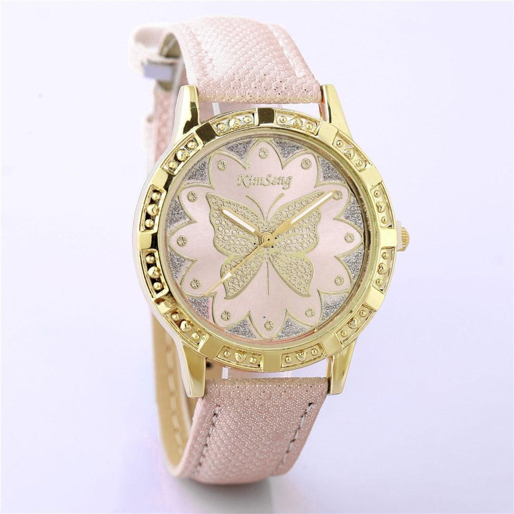 Fashion Korean Women Bracelet Watches Leather Flower
