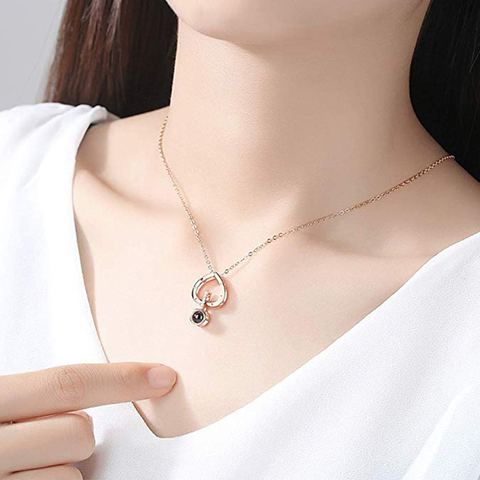I Love You Necklace 100 Languages Heart Love Necklace Love Memory Projection Pendant Necklace for Women Gifts for Mothers Day Multan