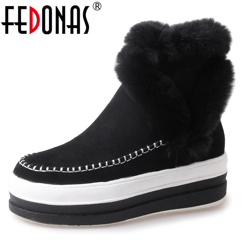FEDONAS Fashion New Women Ankle Boots Wedges High Heels Winter Warm Snow Boots Zipper Cow Leather Quality Casual Shoes Woman fedonas new fashion women genuine leather winter warm wool snow boots women ladies flats heels comfortable casual shoes woman