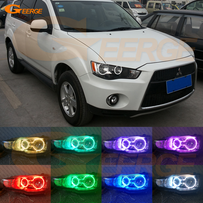 For Mitsubishi Outlander 2010 2011 Halogen headlight Excellent Angel Eyes Multi-Color Ultrabright RGB LED Angel Eyes kit сумка labbra labbra la886bwter49