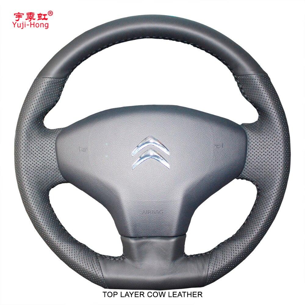 Yuji-hong couvre-volant de voiture en cuir de vache véritable couche supérieure pour citroën c-elysee 2013-2017 cuir naturel noir