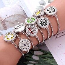 Новые браслеты браслет Арома диффузор духи эфирные масла медальоны для ароматерапии ювелирные изделия модный хрустальный браслет регулируемый