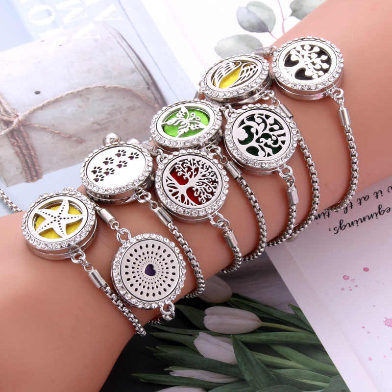 New Bracelets bangle Aroma Diffuser Perfume Essential Oil Aromatherapy Lockets jewelry Fashion Crystal bracelet Adjustable