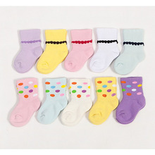 4 pairs / baby socks 2016 autumn and winter cotton fashion dots thicken terry children socks 0-3 year-old girl socks