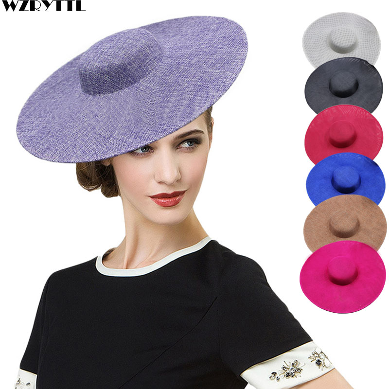 US $14 99 40% OFF|Ladies Fascinators Millinery Hat Base Party Wedding  Sinamay Hat White Wide Brim Fedora Kentucky Derby Headpiece Hair  Accessories-in