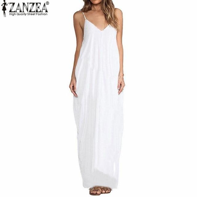 3 Colors ZANZEA 2017 Summer Vestidos Women Dress Boho Strapless V-neck Sleeveless Baggy Long Maxi Dresses Sexy Beach Sundress