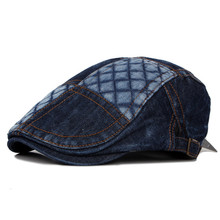 2019 Spring Summer Newsboy Caps Men Patchwork Washed denim C