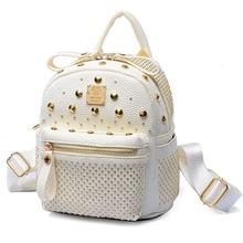 New Design Fashion Rivet Backpack Women Shoulder Bags Senior Leather Men's Backpacks mc Mini Casual Shopping Backpack Bag 2016