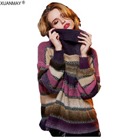 2017 New Bohemian striped Sweater fashion High collar pullover lady sweater coat winter fashion ladies knit sweater dress