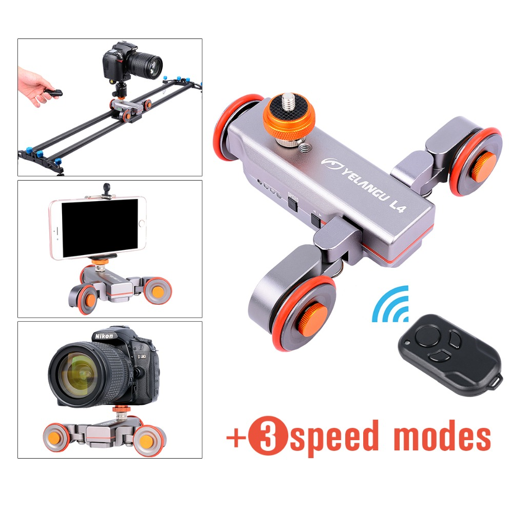 Ulanzi Flexible Motorized Video Dolly Car Wireless Remote 3-Wheel Pulley Car Rolling Skater for iphone DSLR Camcorder Smartphone 3 wheel autodolly rail rolling slider skater mobile electric dolly car for dslr cameras video camcorder smartphones