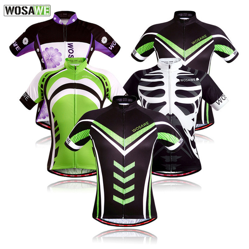 WOSAWE High Quality White Skull and Green Men Women Cycling Jerseys Bike Short Sleeve Sportswear T-shirts Bicycle Clothing rock racing cycling clothing couple jerseys short sleeve high quality paladinsports christmas design