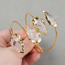 5pcs/lot New Arrival Adjustable Gold Plated Double Natural Quartz Bracelet Jewelry for Women G0528