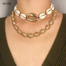 SHIXIN Layered Sea Shells Necklaces 2019 Fashion Choker Necklaces for Women Metal/Seashell Personalized Necklaces Summer Jewelry