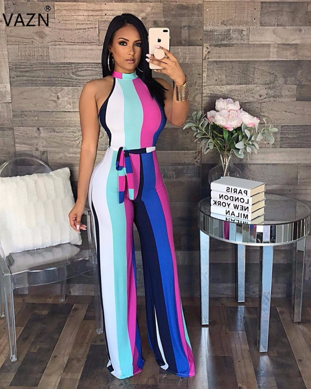 VAZN 2018 hot summer striped halter jumpsuits women sleeveless regular jumpsuits ladies hollow out full length jumpsuits J1508