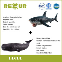 2 Pcs Lot Recur Sperm Whale Great White Shark Delicate Hand Painted PVC Marine Collection Model