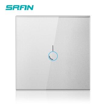 Interruptor SRAN sensor táctil de pared de lujo, interruptor de luz led estándar de la UE 220 v, interruptor de potencia, cristal negro, interruptor 1/2/3gang 1way Entrega barata / rápida / Buena calidad