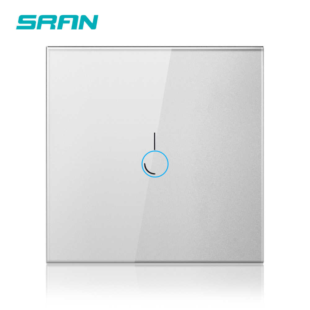 SRAN luxus wand touch sensor schalter, eu standard led licht schalter 220 v, schalter power, schwarz kristall glas, 1/2/3gang 1way schalter