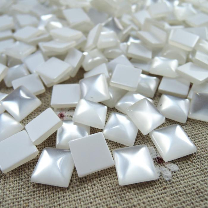 Jewelry & Accessories Beads Creative 12mm 50pcs White Square Half Flat Back Cabochons Beads Diy Jewelry Decoration Craft Scrapbooking Accessories Ha-12