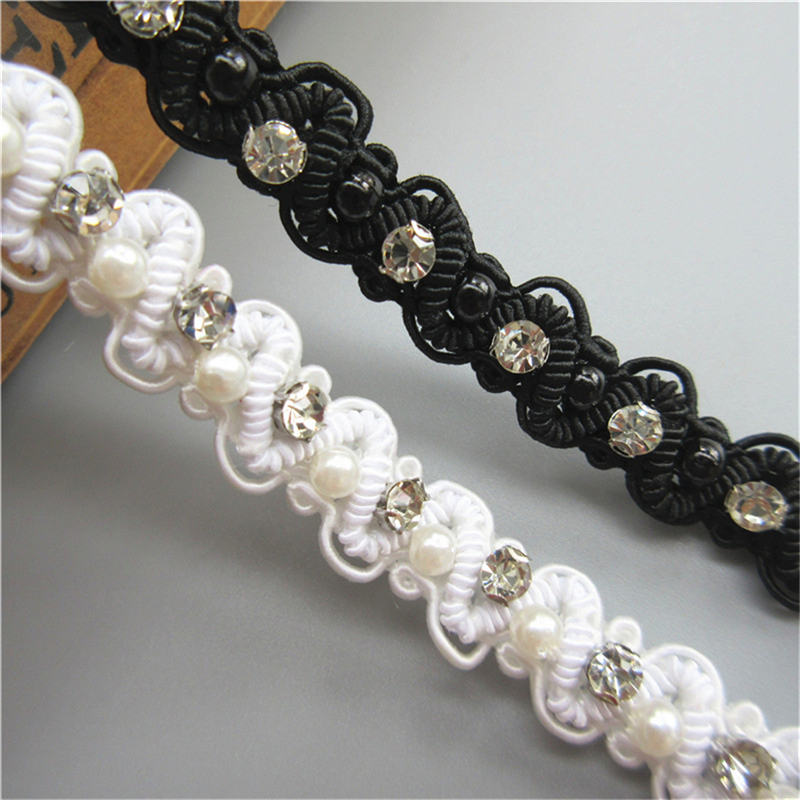 1-10Meter Flower Pearl Lace Edge Trim Wedding Ribbon Embroidered Applique Sewing