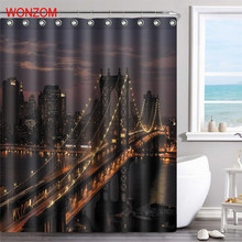 WONZOM Night Bridge Polyester Fabric Shower Curtain Bathroom Decor Waterproof Landscape Cortina De Bano With 12 Hooks Gift 2017