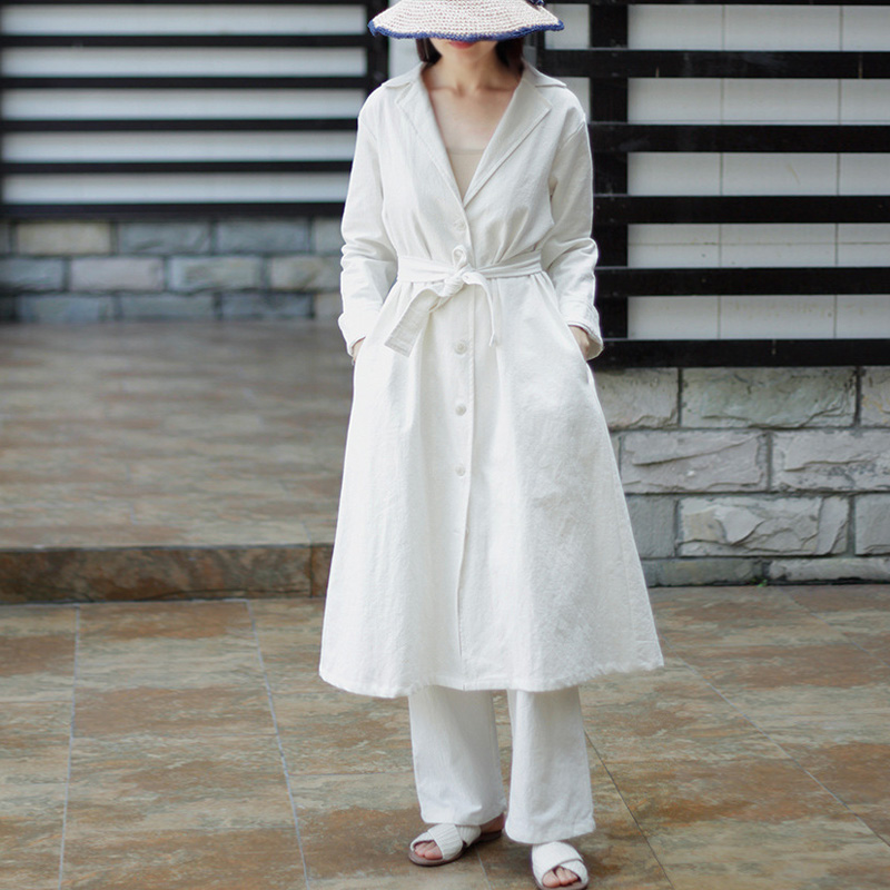 Coats Color Women white Solid Sleeve Trench 2018 Collar Button Bandage Vintage Autumn Johnature Long Black Cotton Linen Trun Down New nxXf1HE