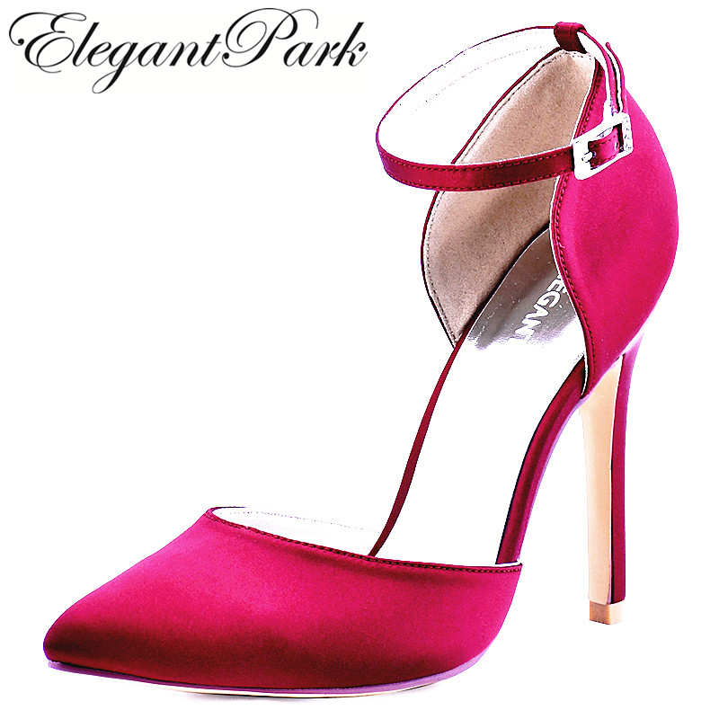 Women Shoes Burgundy High Heel Pointed Toe Ankle Strap Satin Bridesmaids Evening Prom Wedding Bridal Pumps HC1602 Hot Pink Blush hp1544i white ivory peep toe women wedding pumps ankle strap crystal buckle bride bridesmaids high heel satin bridal prom shoes