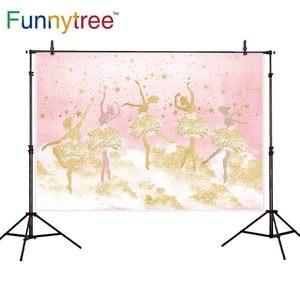 Image 2 - Funnytree photography ballerina dancer backdrop pink girl stars 1st birthday background photo studio decor photophone photozone