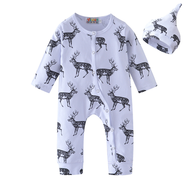 59e80852 New 2019 Fashion Baby Rompers Baby Boy Clothes Long Sleeve Deer Printed  Newborn Cotton Baby Girl Clothing Infant Jumpsuit+Hat