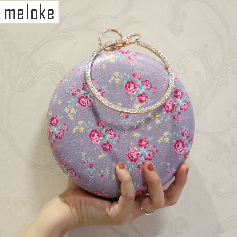 Meloke 2019 new style printed flowers evening bags round mini wedding dinner clutch wallets handmade banquet bags MN587Meloke 2019 new style printed flowers evening bags round mini wedding dinner clutch wallets handmade banquet bags MN587