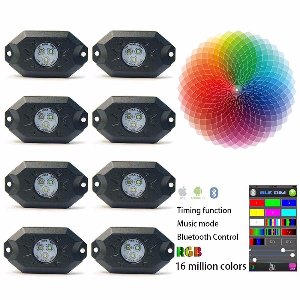 9W RGB LED Rock Lights with Bluetooth Controller, Timing Function, Music Mode - 8 Pods Multicolor Neon LED Light Kit хай хэт и контроллер для электронной ударной установки roland fd 9 hi hat controller pedal