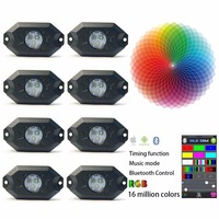 9W RGB LED Rock Lights With Bluetooth Controller Timing Function Music Mode 8 Pods Multicolor Neon