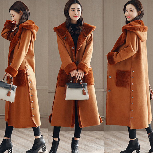 82ca03c4990 High Quality Large size Winter Women Long Paragraph Solid Color Cashmere  Coat Thick Hooded Wool Blends Warm and Windproof