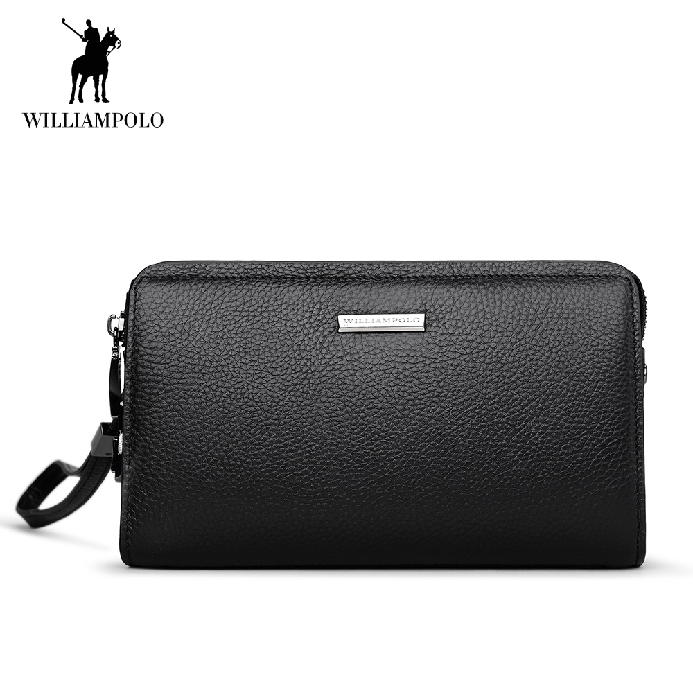 WilliamPOLO Men Wallet Long Clutch Genuine Leather Credit Card Holder Multi Card Case Coin Phone Purse Anti Theft Handbag