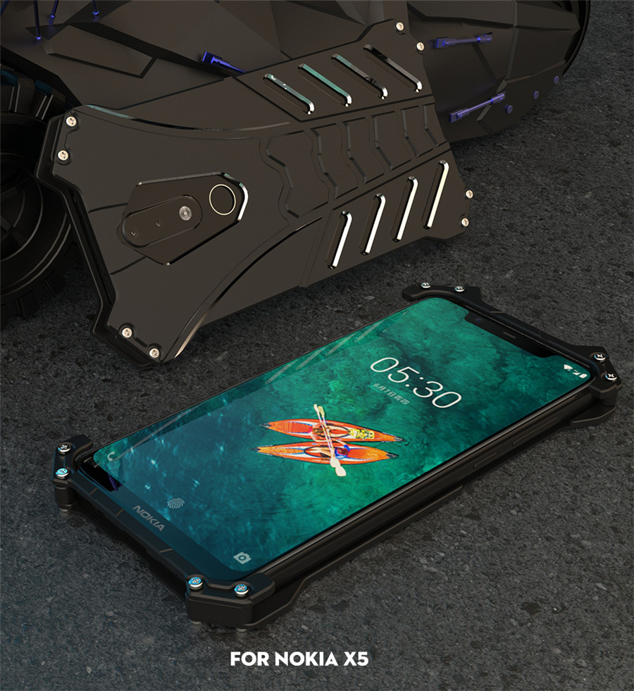For Nokia X5 Case Original R-JUST Batman Armor Aluminum Metal For Nokia 5.1 plus Case Shockproof Coque (7)