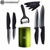 Ceramic Knives COOBNESS Brand Black Blade 3 4 5 6 Kitchen Knives Multi Purpose Peeler With