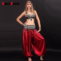 Tribal Belly Dance 3piece Bra Waist Sealing Dress Bollywood Dance Costumes Black S M L Ropa