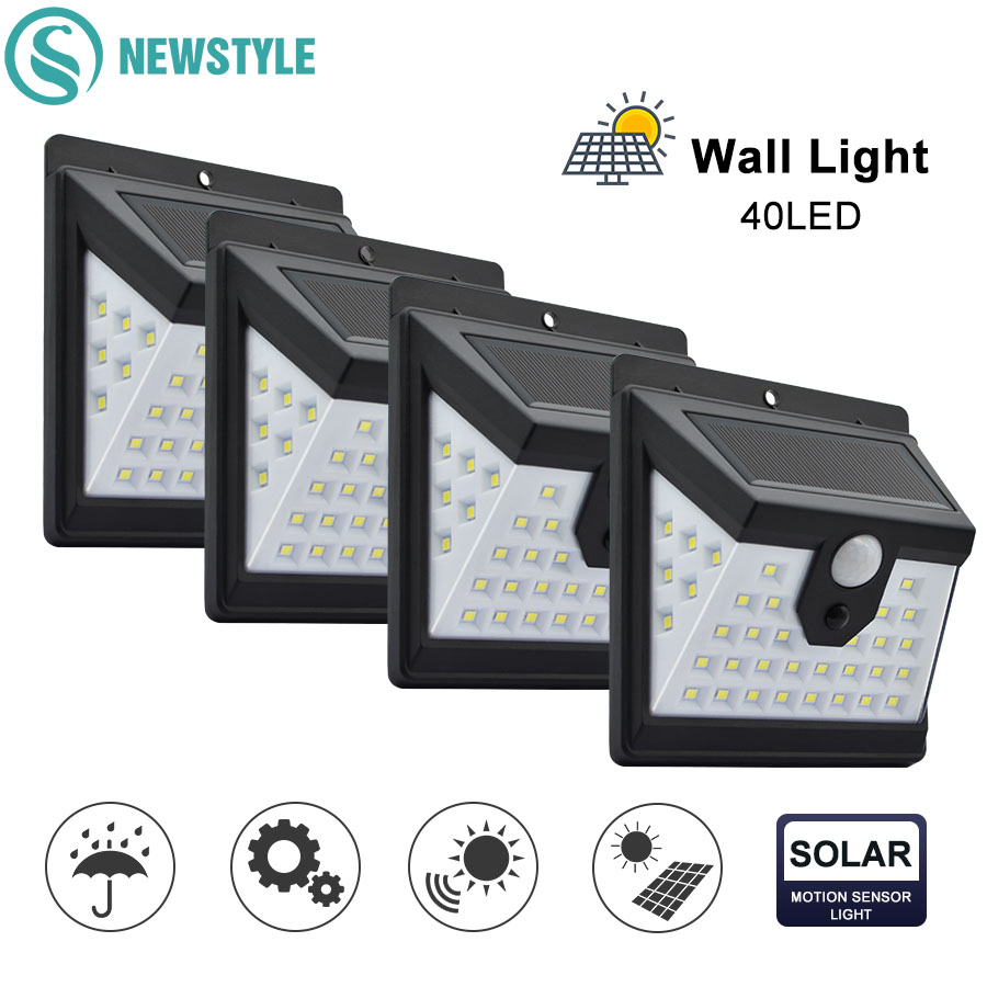 40 LED Solar Powered Light 3 Modes PIR Motion Sensor Solar Wall Lamp Outdoor Waterproof Garden Yard Security Lights