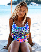 Phaixoneible Swimwear One Piece Swimsuit Women Bathing Suit Print Halter Summer Sexy Bikini Padded Biquini