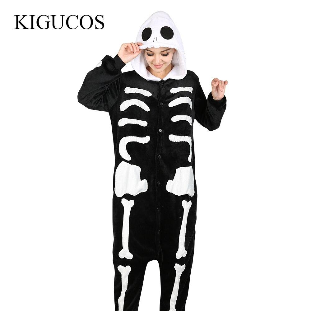 KIGUCOS Men Party All In One Skeleton Costumes Devil Scary Sleepwear Skull Pijama Funny Animal Cartoon Pajamas
