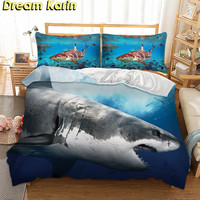 Dream Karin 2019 Home Decoration Shark Printed Bedding Sets 3D Bed Linen Duvet Cover With Pillowcase