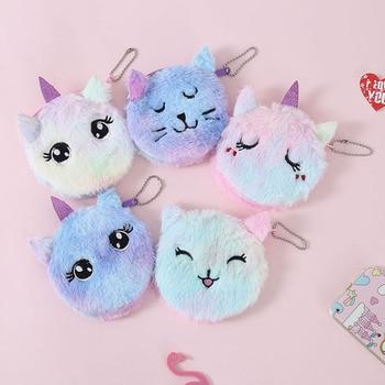 Monedero unicornio niña auricular con forma de gato bolsa mujer lindo titular de la tarjeta niños regalo de felpa bolso bolsa de auriculares