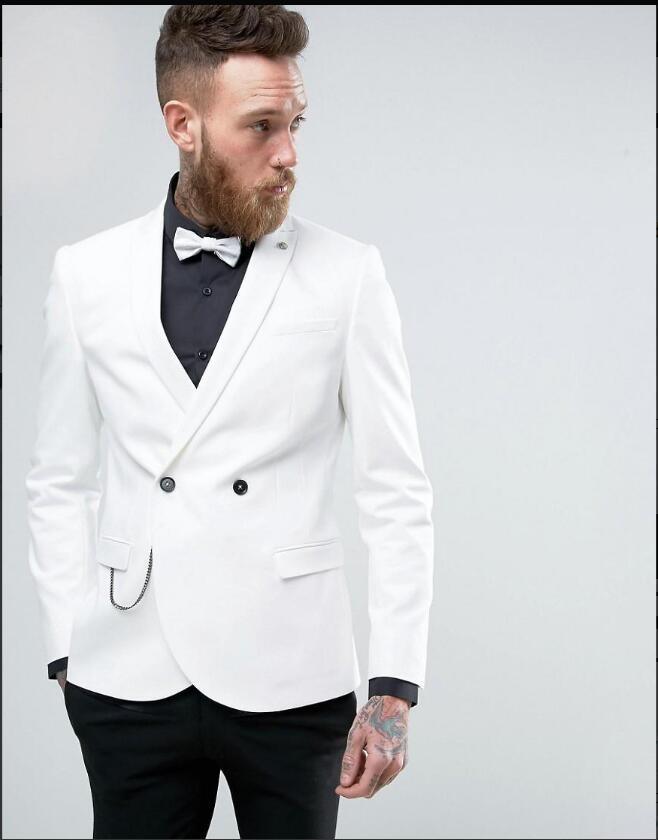 Delicious High Quality White Mens Suits Groom Tuxedos Groomsmen Wedding Party Dinner Best Man Suits (jacket+pants+tie) K:2211