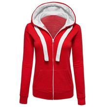 Красные Теплые толстовки зимняя теплая Толстовка Спортивная хлопковая куртка на молнии с длинным рукавом и капюшоном JLY0827