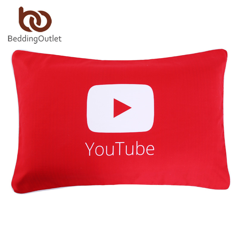 BeddingOutlet YouTube Pillowcase Qualified Red Printed Pillow Covers for Home Soft Bedding 50cmx75cm On Sale