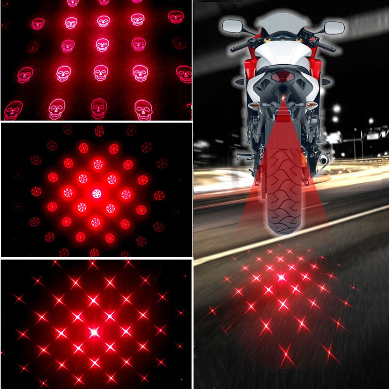 Car Motorcycle Anti-collision LED Laser Fog Lights Tail Warning Light  Motorcycle Taillight Anti-fog Parking Stop Brake Light