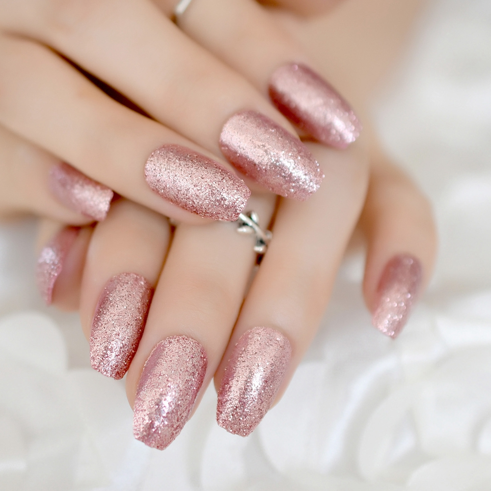 Rose Gold 24 Full Cover False Nails Gorgeous Glitter Ballerina Acrylic Nail Tips 12 Sizes Full Coverage DIY Tips With Adhesive